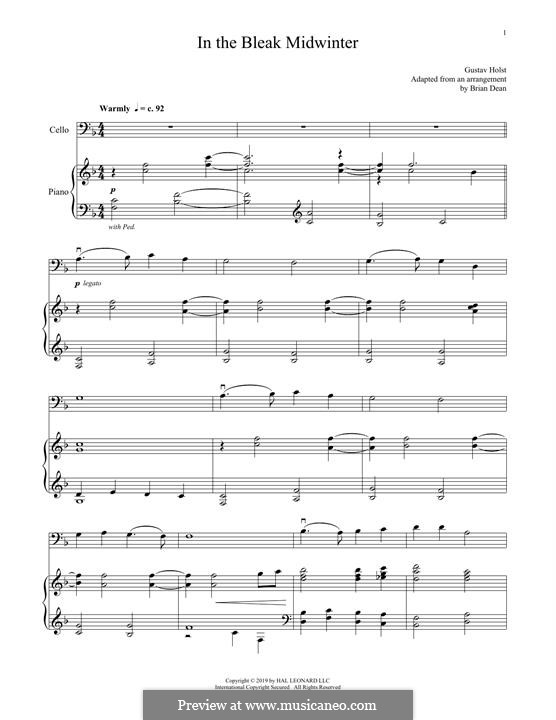 In the Bleak Midwinter: For cello and piano by Gustav Holst