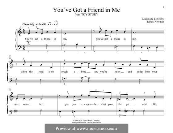 You've Got a Friend in Me (from Disney's Toy Story): For piano by Randy Newman