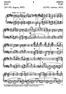 Sonata for Piano No.9 in B Major, D.575 Op.147: For a single performer by Franz Schubert