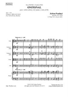 Onitonal for solo beginner violin (ad libitum: piano, string quartet or 2 violins, optional viola and cello or bassoon): Onitonal for solo beginner violin (ad libitum: piano, string quartet or 2 violins, optional viola and cello or bassoon) by Zoltan Paulinyi