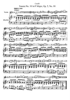 Sonata No.10: Arrangement for violin and piano by Arcangelo Corelli