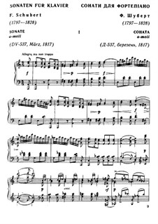 Sonata for Piano No.4 in A Minor, D.537 Op.164: For a single performer by Franz Schubert
