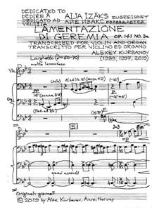 Lamentazione di Geremia, Op.141 No.3a: Lamentazione di Geremia by Alexey Kurbanov