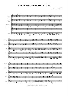 Salve Regina Coelitum: For brass quintet with parts by Unknown (works before 1850)