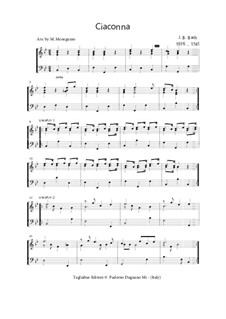 Ciacona in Bb, BWV Anh.82: For piano (or organ) by Johann Sebastian Bach