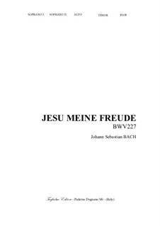 Jesu, meine Freude, BWV 227: For SSTB Choir by Johann Sebastian Bach