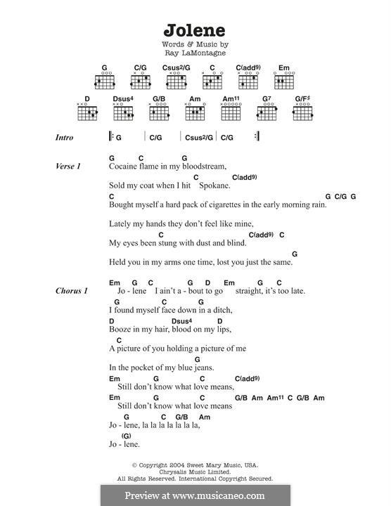 Jolene: Lyrics and chords by Ray LaMontagne