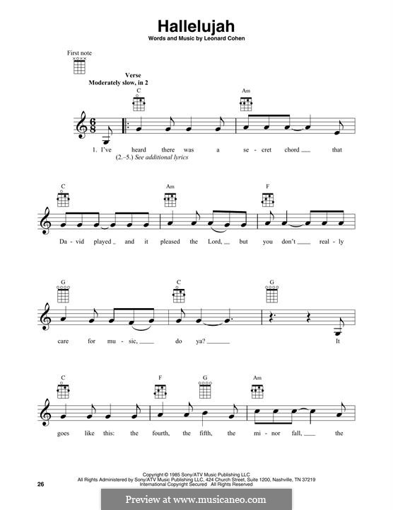 Piano-vocal score: Melody line by Leonard Cohen