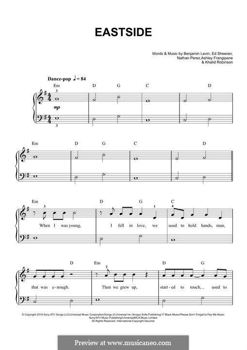 Eastside (benny blanco, Halsey & Khalid): For piano by Ed Sheeran, Benjamin Levin, Nathan Perez, Ashley Frangipane, Khalid Robinson