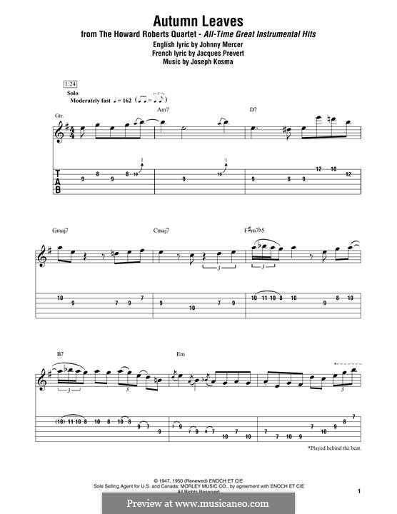 Autumn Leaves (Les Feuilles Mortes): For guitar by Joseph Kosma