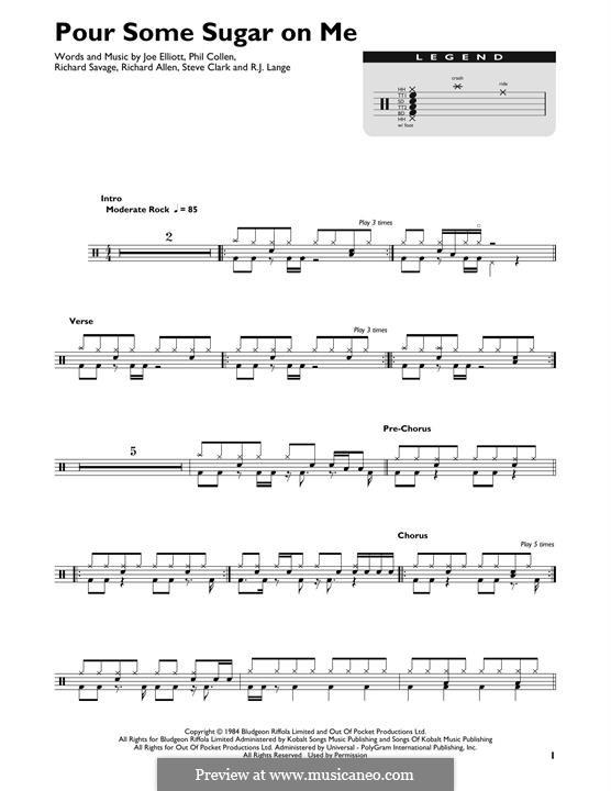 Pour Some Sugar on Me (Def Leppard): Drum set by Joe Elliott, Phil Collen, Richard Savage, Robert John Lange, Steve Clark