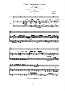Concerto for Oboe and Orchestra in D Minor, BWV 1059: Version for violin and piano by Johann Sebastian Bach