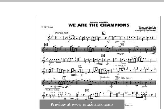 We are the Champions (Queen): Eb Alto Sax part (Tim Waters) by Freddie Mercury