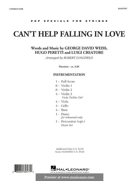 Can't Help Falling in Love: Full score (arr. Robert Longfield) by George David Weiss, Hugo Peretti, Luigi Creatore