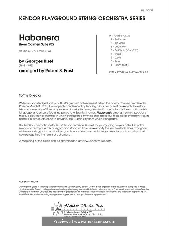 Habanera (Printable Scores): For strings and piano (arr. Robert S. Frost) by Georges Bizet