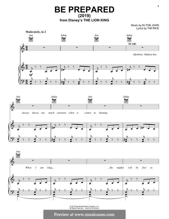Be Prepared: For voice and piano (or guitar) by Elton John