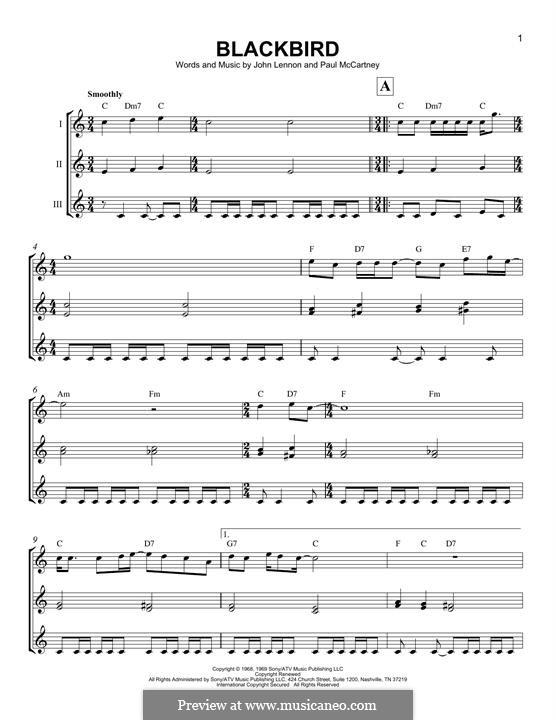 Blackbird (The Beatles): For ukulele trio by John Lennon, Paul McCartney