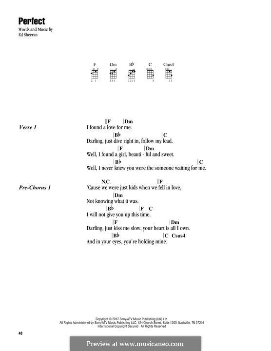 Perfect: Lyrics and chords by Ed Sheeran