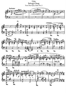 Suite No.2, Op.55: Solvejg's Song, for piano by Edvard Grieg
