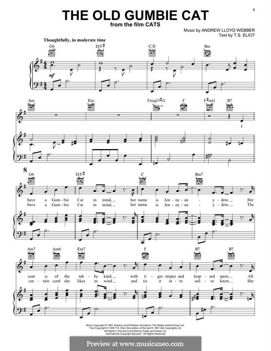The Old Gumbie Cat (from the Motion Picture Cats): For voice and piano (or guitar) by Andrew Lloyd Webber