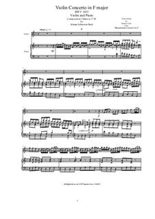Concerto for Oboe and Strings in F Major, BWV 1053R: Version for violin and piano by Johann Sebastian Bach