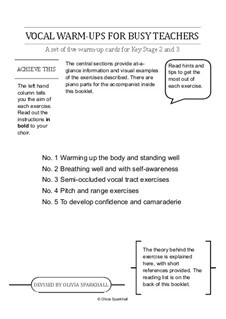Vocal Warm-Ups for Busy Teachers: Piano accompaniments by Olivia Sparkhall