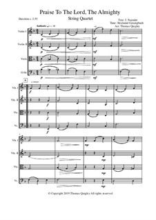 Praise to the Lord, the Almighty: For string quartet by Unknown (works before 1850)