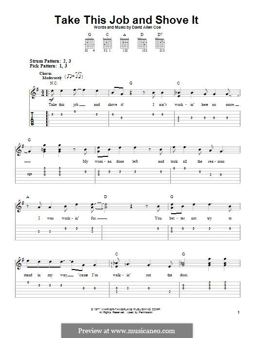 Take This Job and Shove It: For guitar by David Allen Coe