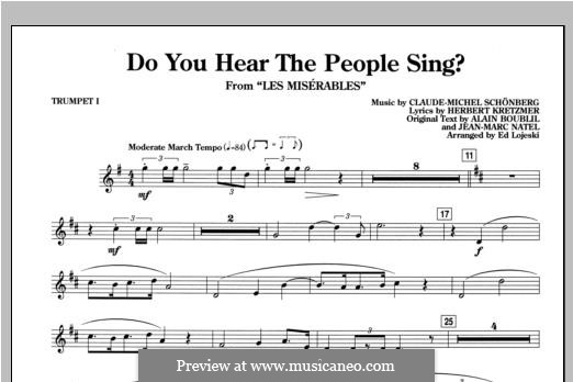 Do You Hear the People Sing: Bb Trumpet 1 part by Claude-Michel Schönberg