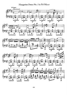 Dance No.5 in F Sharp Minor: For piano by Johannes Brahms