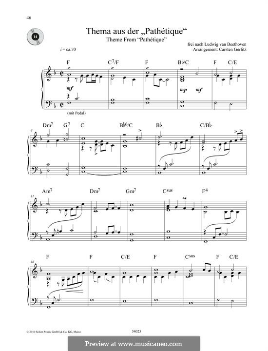 Movement II: Theme. Version for piano by Ludwig van Beethoven