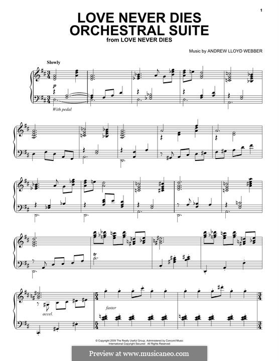 Love Never Dies: For piano by Andrew Lloyd Webber