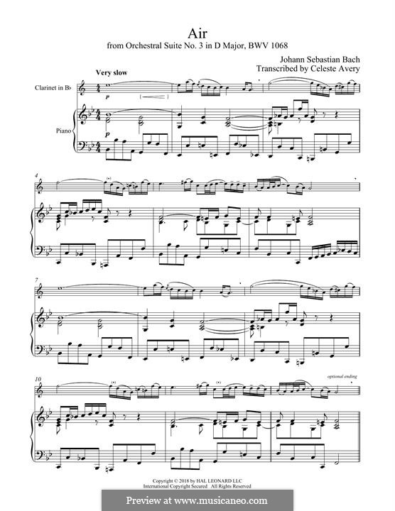 Aria (Printable Scores): Version for clarinet and piano by Johann Sebastian Bach