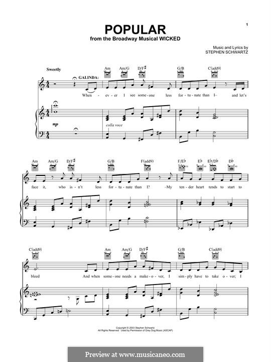Popular (from Wicked): For voice and piano (or guitar) by Stephen Schwartz
