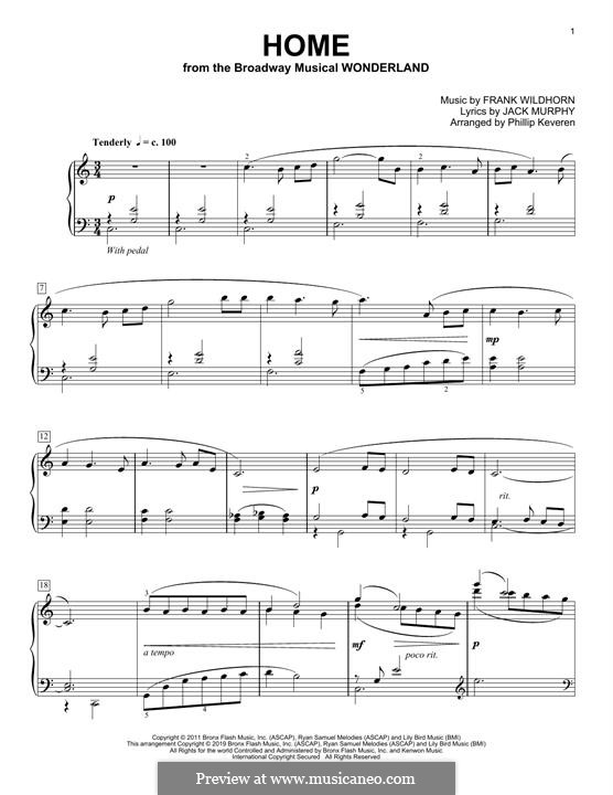 Home (from Wonderland): For piano (classical version) by Frank Wildhorn