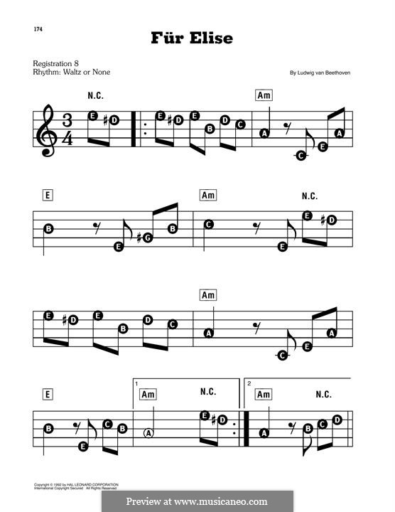 For Elise, for Piano, WoO 59: Easy version by Ludwig van Beethoven