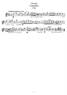 Cantabile for Flute and Piano: Flute part by Benedetto Marcello