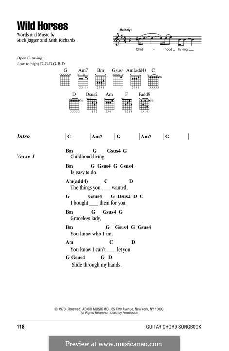 Wild Horses (Susan Boyle): Lyrics and chords by Keith Richards, Mick Jagger