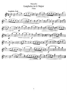 Larghetto in G Major for Flute and Piano: Flute Part by Benedetto Marcello