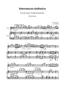 Cavaleria rusticana: Intermezzo, for violin and piano by Pietro Mascagni