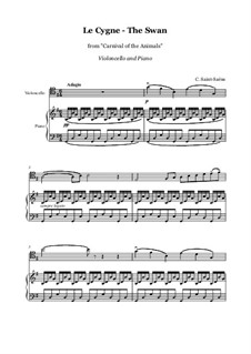 The Swan: For cello and piano by Camille Saint-Saëns