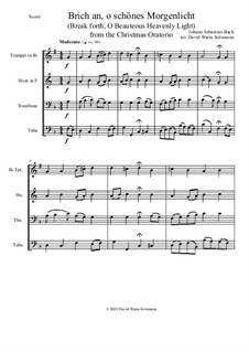 Brich an, o schönes Morgenlicht (Break forth, O beauteous heav'nly light): For brass quartet by Johann Sebastian Bach
