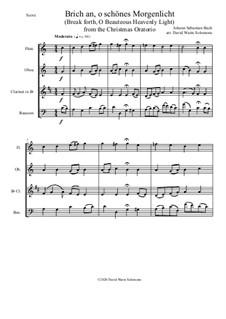 Brich an, o schönes Morgenlicht (Break forth, O beauteous heav'nly light): For wind quartet by Johann Sebastian Bach