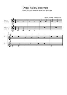 Omas Wohnzimmeruhr: Für 2 Melodieinstrumente in C by Sandra Edeling