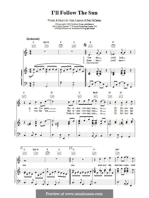 I'll Follow the Sun (The Beatles): For voice and piano (or guitar) by John Lennon, Paul McCartney