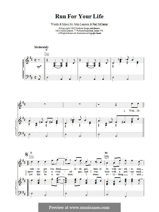 Run for Your Life (The Beatles): For voice and piano (or guitar) by John Lennon, Paul McCartney