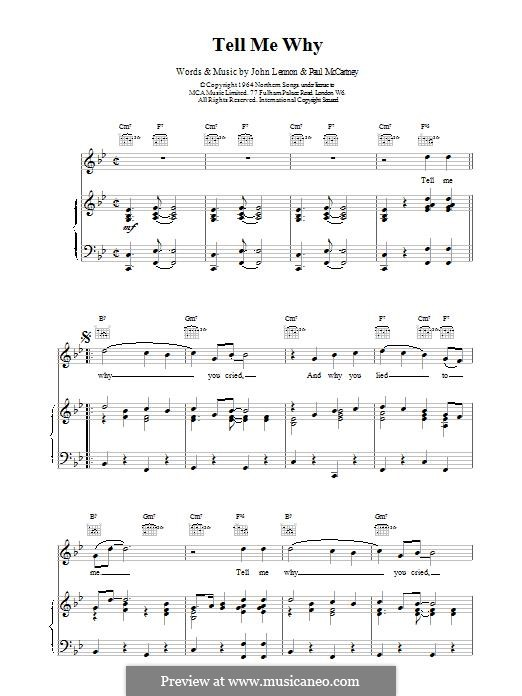 Tell Me Why (The Beatles): For voice and piano (or guitar) by John Lennon, Paul McCartney