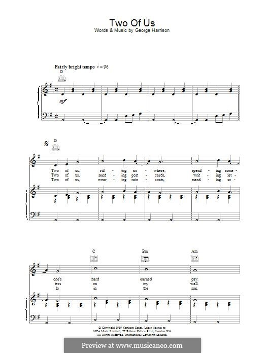 Two of Us (The Beatles): For voice and piano (or guitar) by John Lennon, Paul McCartney
