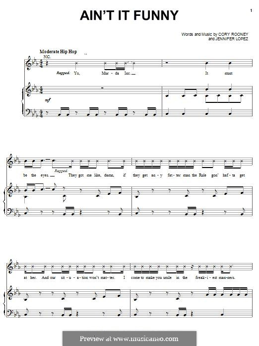 Ain't It Funny: For voice and piano (or guitar) by Cory Rooney, Jennifer Lopez