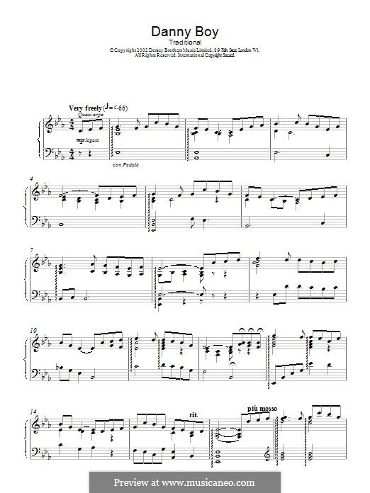 Danny Boy (Londonderry Air) Printable Scores: For piano by folklore